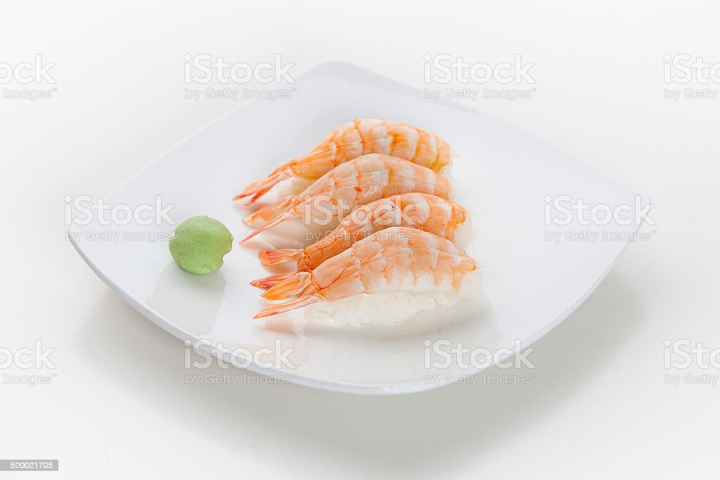 Four pieces of Shrimp sushi (Ebi) stock photo