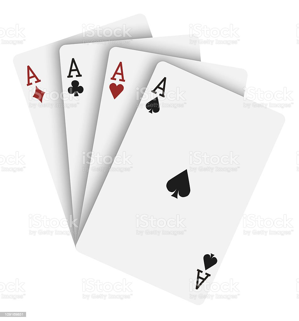 Four playing cards, all aces stock photo