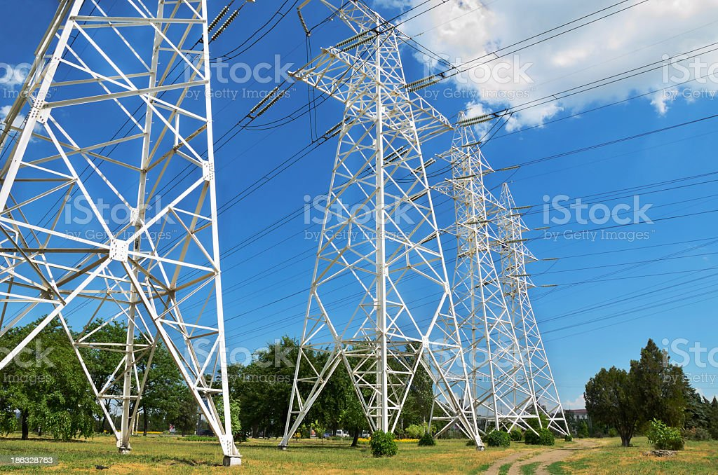 four pole with power lines royalty-free stock photo
