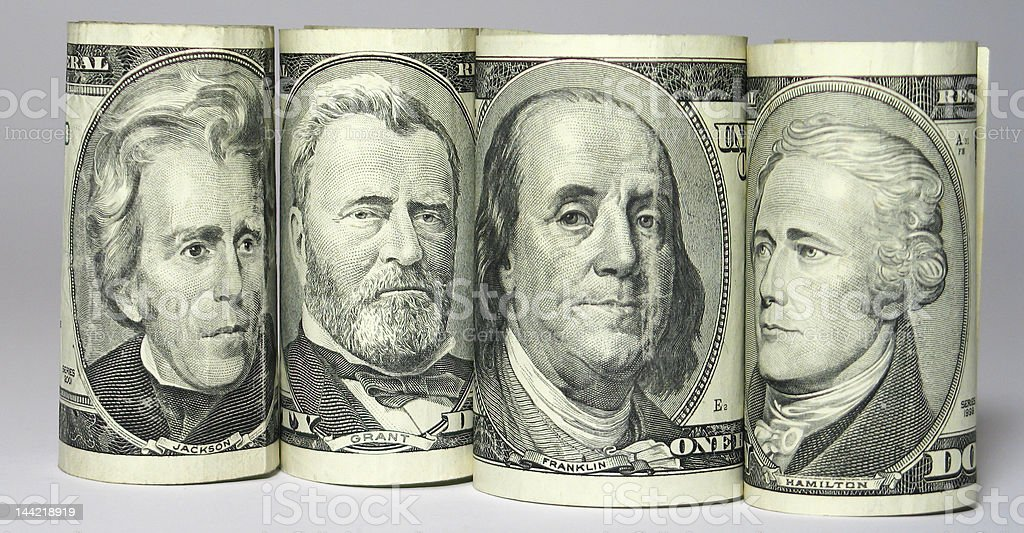 Four portraits on banknote royalty-free stock photo