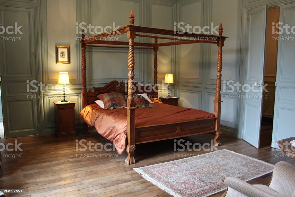 Four Poster Bed In A French Chateau stock photo