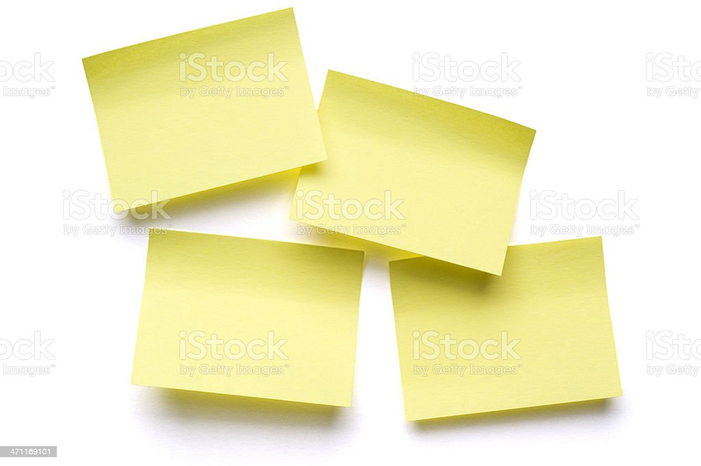 Four Post-it Notes on white royalty-free stock photo