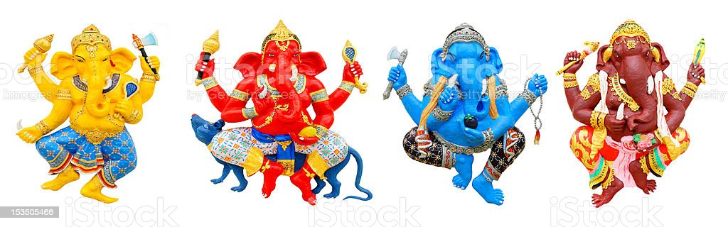 Four postures of Ganesha, isolated on white background royalty-free stock photo