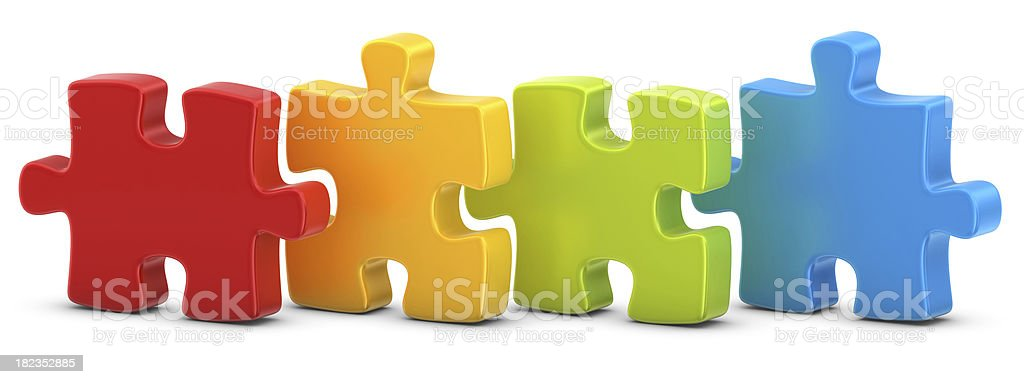 four puzzles stock photo