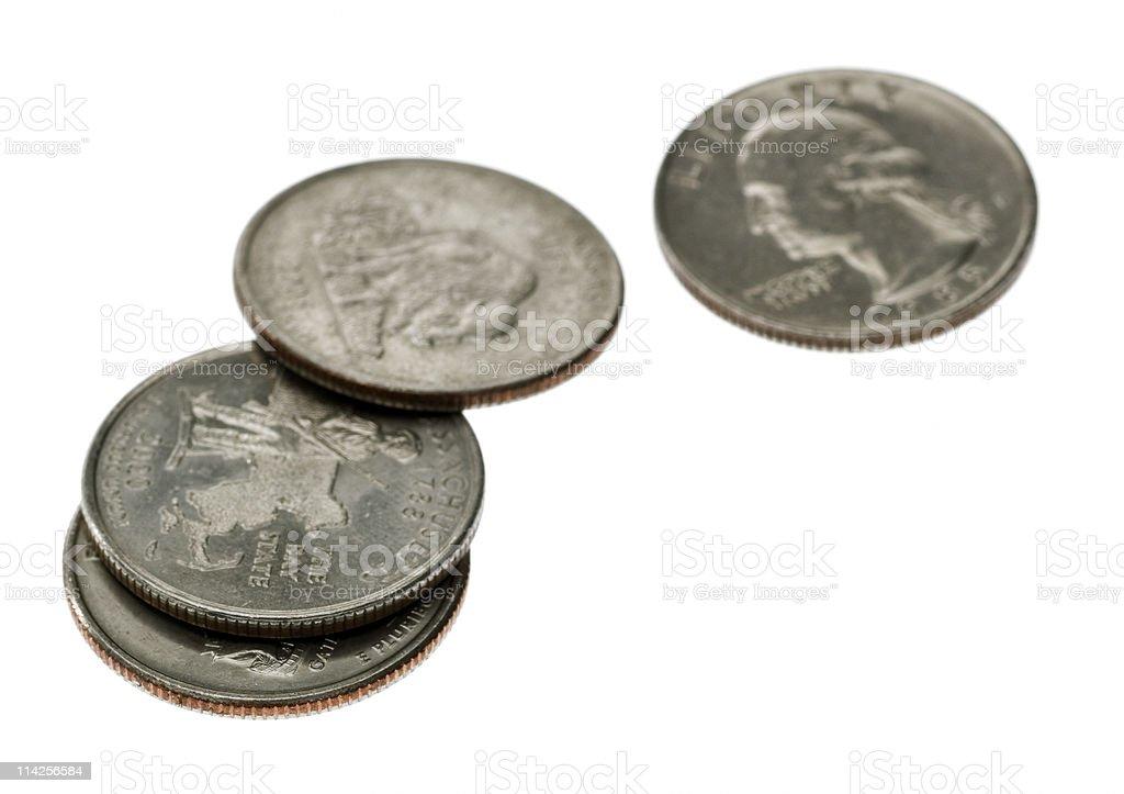 Four quarters stock photo