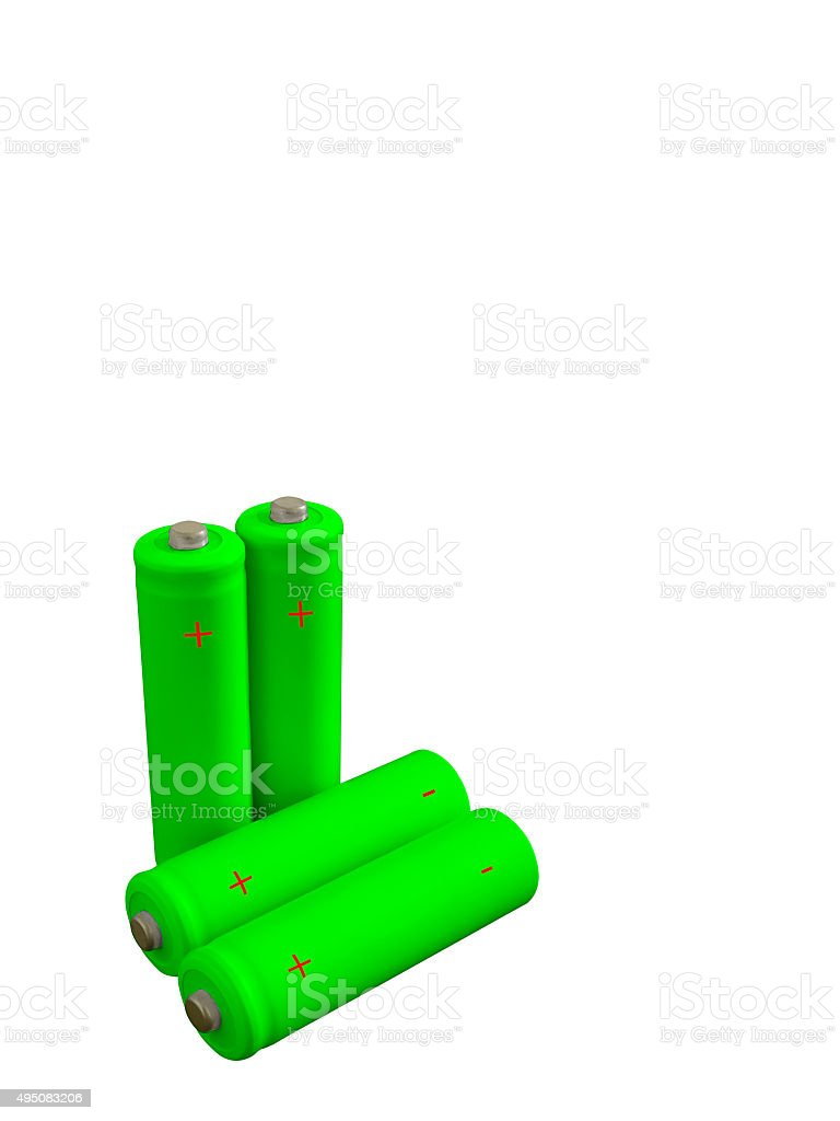 Four rechargeable green eco batteries stock photo