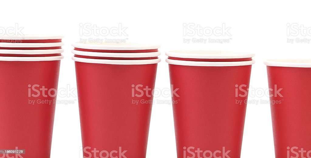 Four red plastic cups. royalty-free stock photo