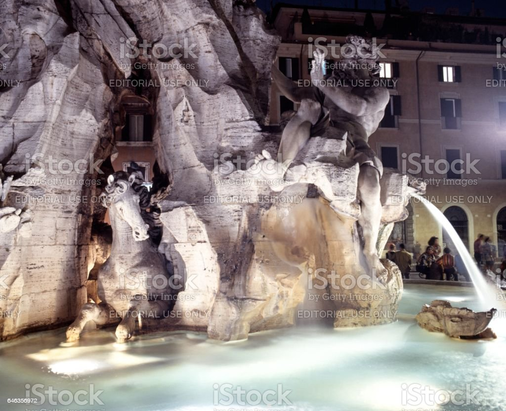 Four Rivers Fountain, Rome stock photo