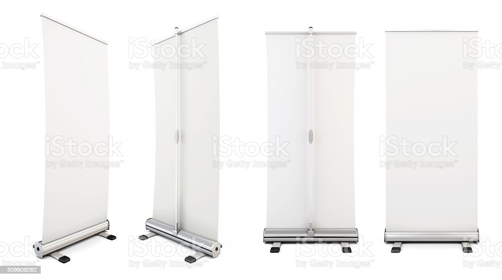 Four roll-up from different angles. Rollup for your design. Temp stock photo