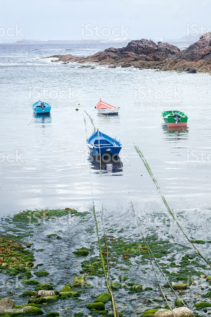 Four rowing boats mooring in a small fishing harbor stock photo