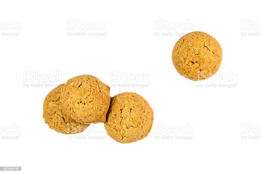 Four scattered ginger nuts from above stock photo