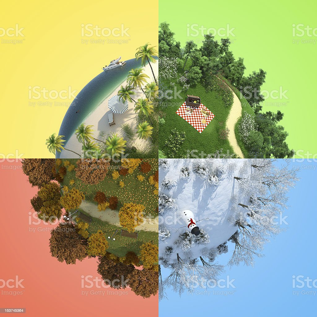 four season miniature globe stock photo