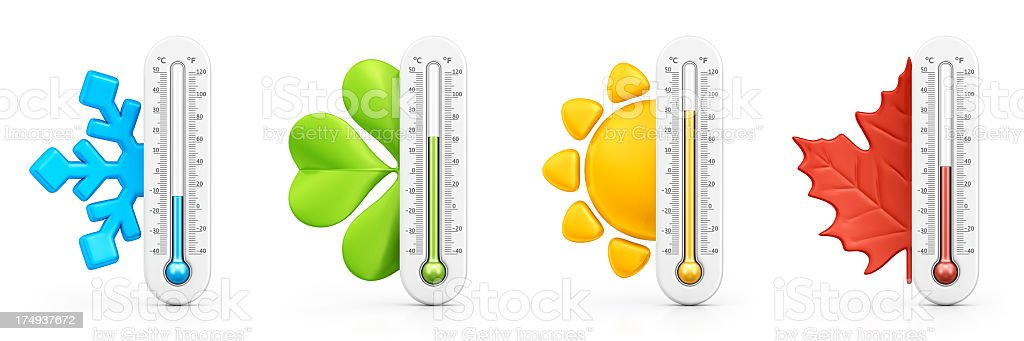 four seasons thermometers stock photo