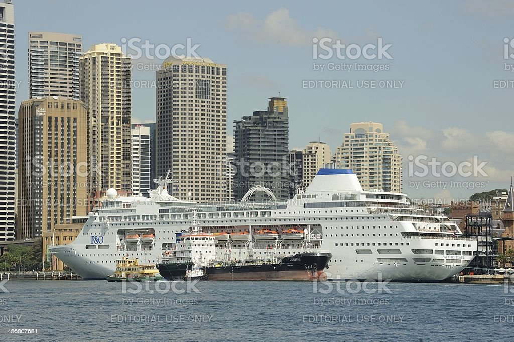 Four Ships in Sydney Harbour stock photo