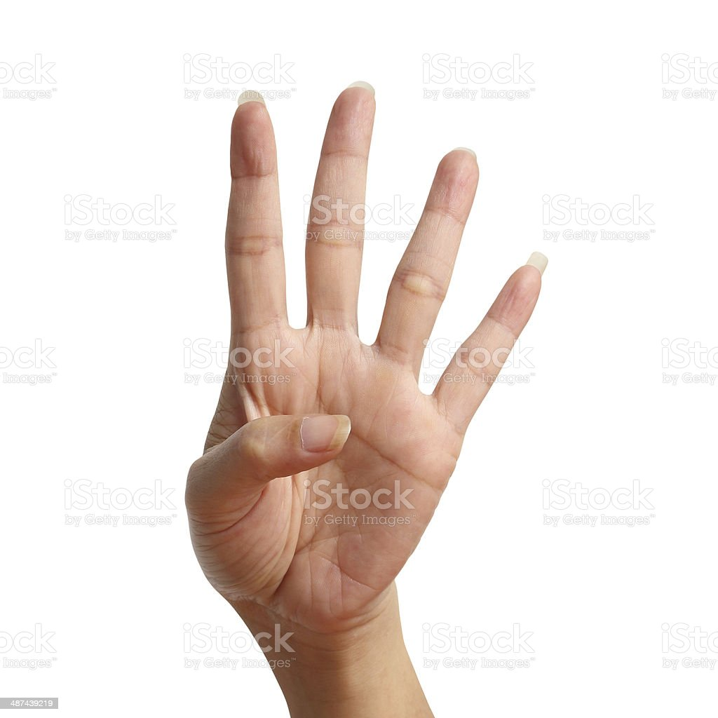 Four signal raise up, making by hand isolated over white stock photo