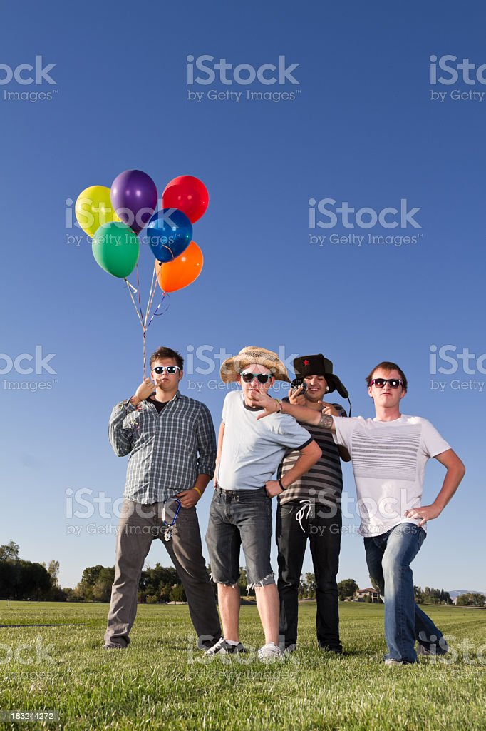 Four Silly Young Men stock photo
