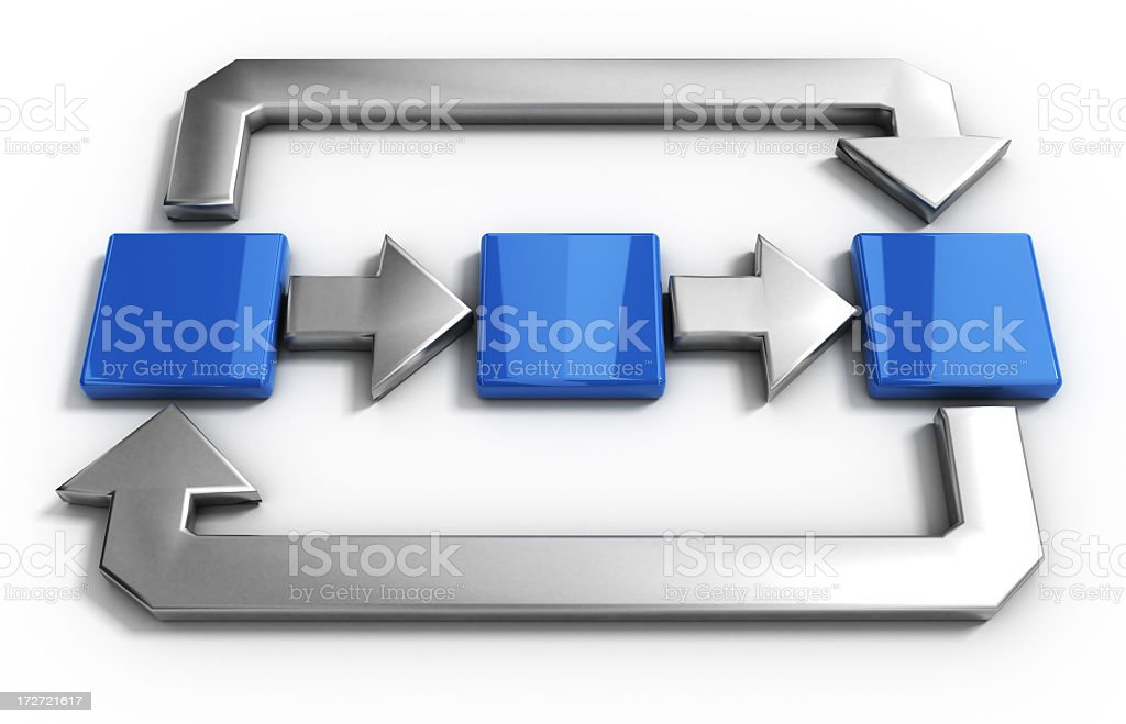 Four silver arrows point to three blue squares stock photo