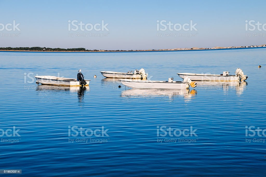 Four Skiffs Afloatin' stock photo