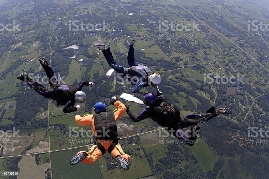 Four Skydivers royalty-free stock photo