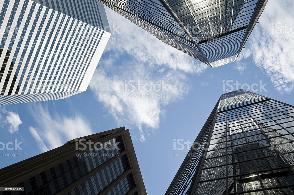 four skyscrapers from below royalty-free stock photo
