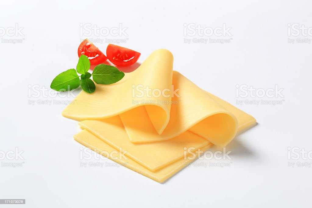 four slices of cheese stock photo