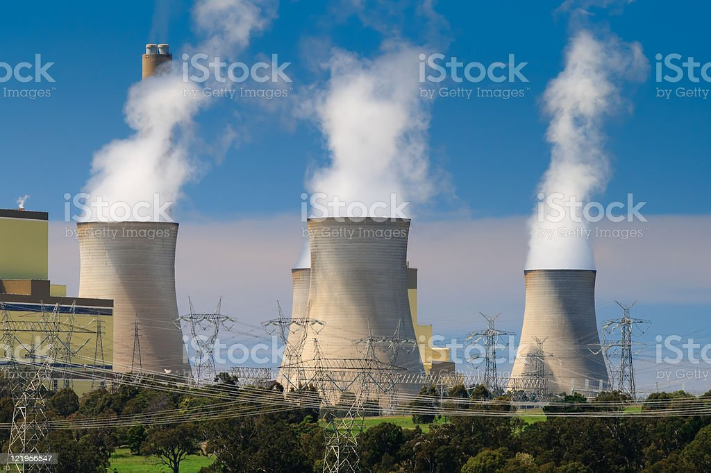 Four Smoke Stack at Power Plant royalty-free stock photo