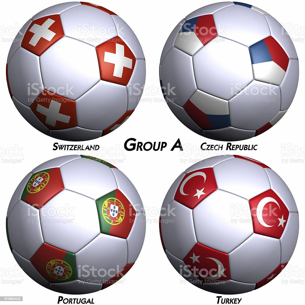 Four soccer balls with flags of European countries royalty-free stock photo