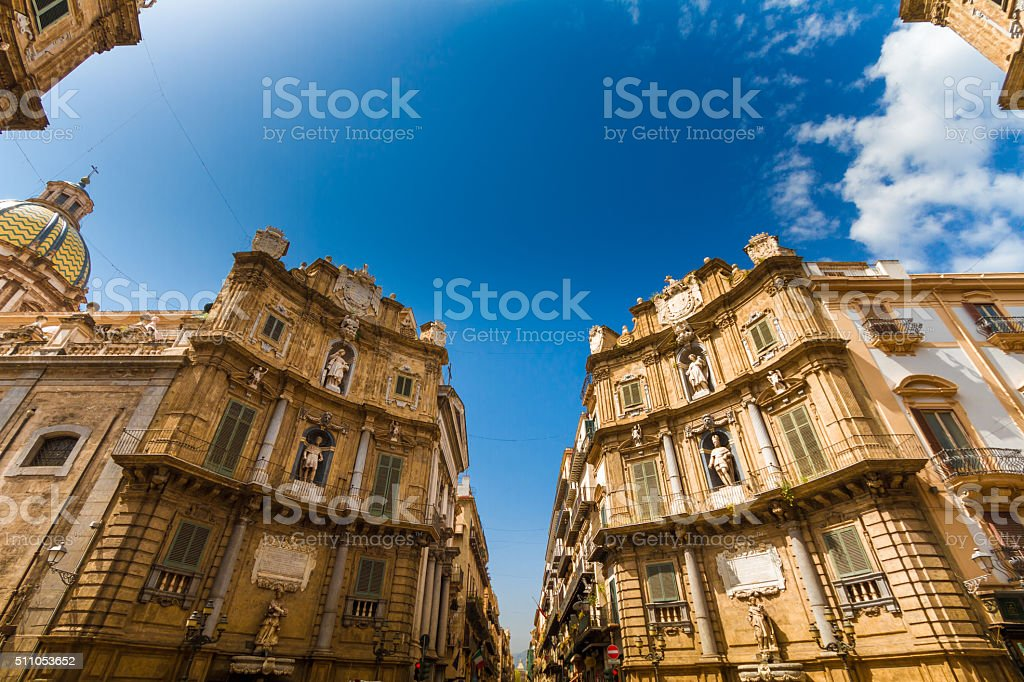 Quattro Canti square in Palermo, Italy stock photo