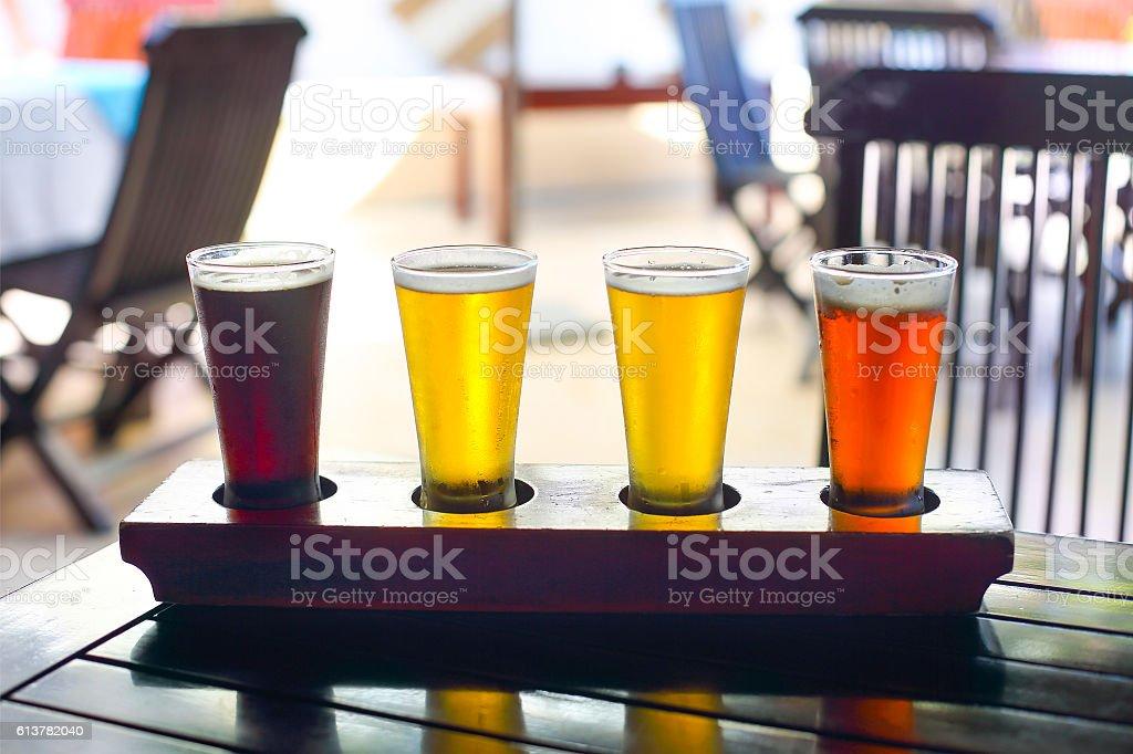 Four sorts of beer. Beer tasting stock photo