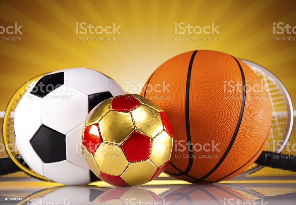 Four Sport, a lot of balls and stuff royalty-free stock photo