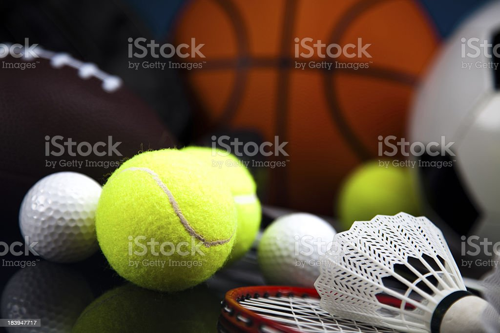 Four Sports, a lot of balls and stuff royalty-free stock photo
