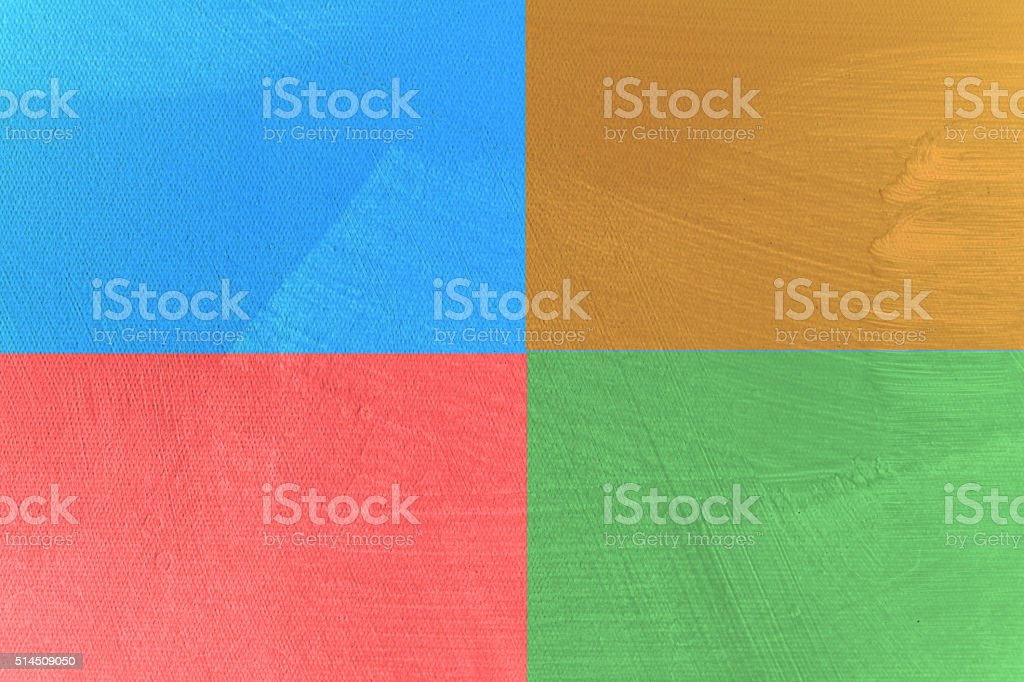 Four Square Blue Red Gold Green Colours stock photo