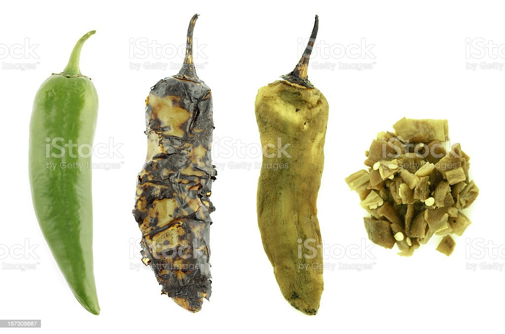 Four Stages of a Green Chile stock photo