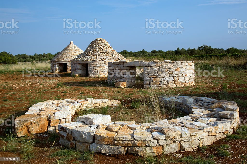 Four stages of the construction traditional Istrian houses stock photo