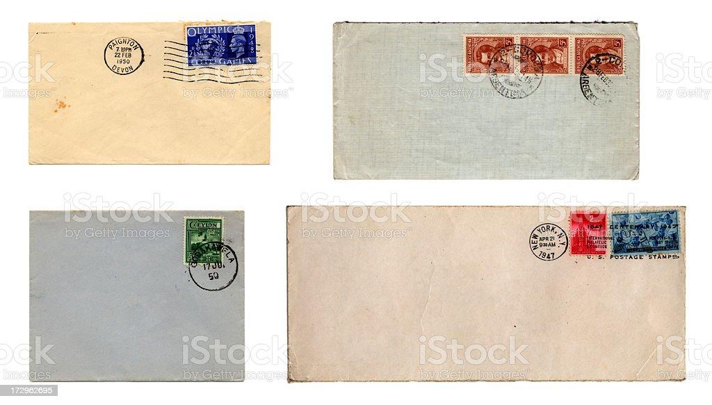 Four stamped envelopes royalty-free stock photo