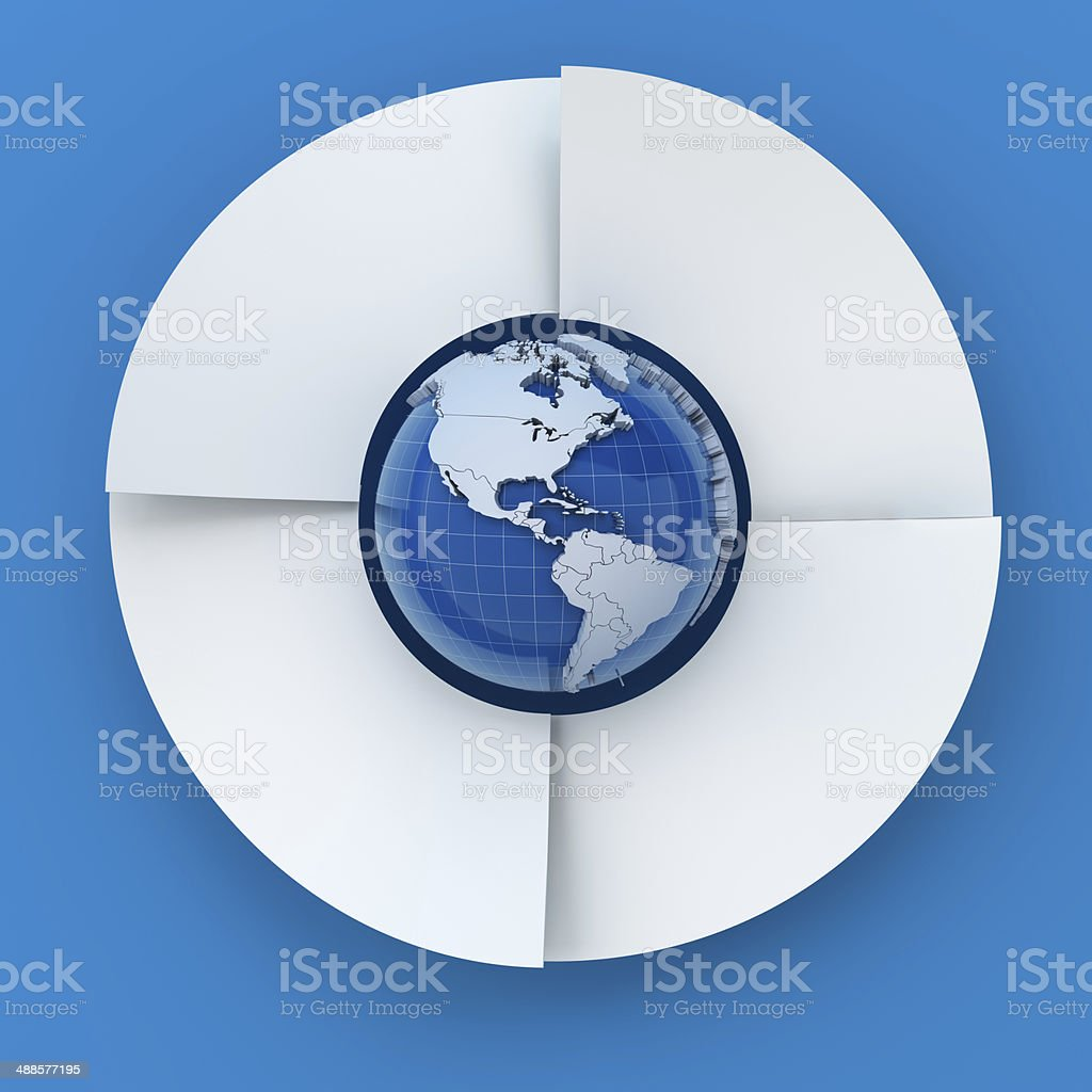Four steps circle infographic chart with globe, 3d render royalty-free stock photo
