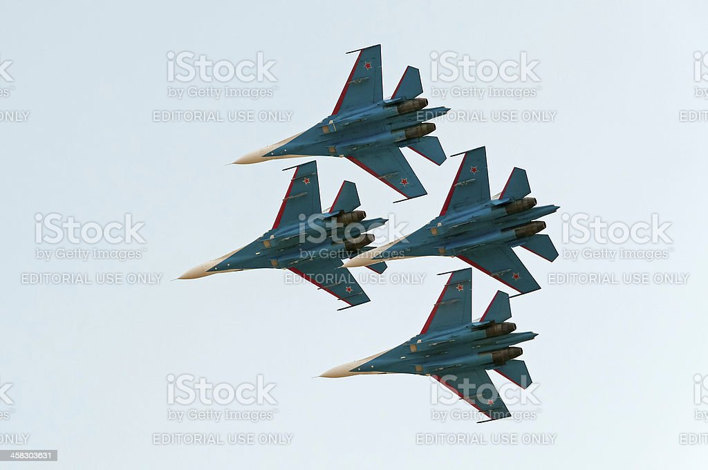 Four Su-27 Flanker fighters of The Russian Knights aerobatic team royalty-free stock photo