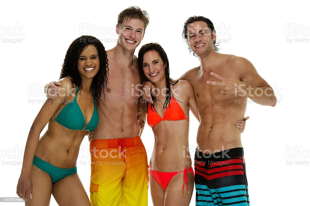Four swimmer standing together stock photo