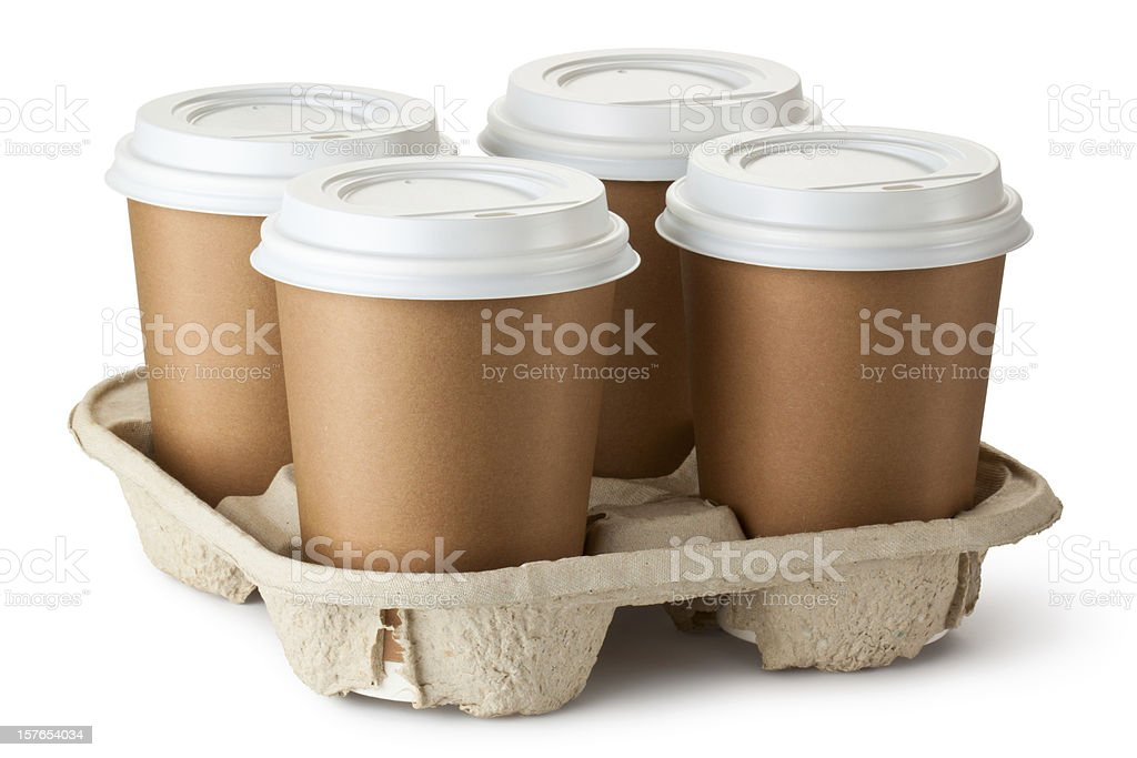 Four take-out coffee in holder royalty-free stock photo