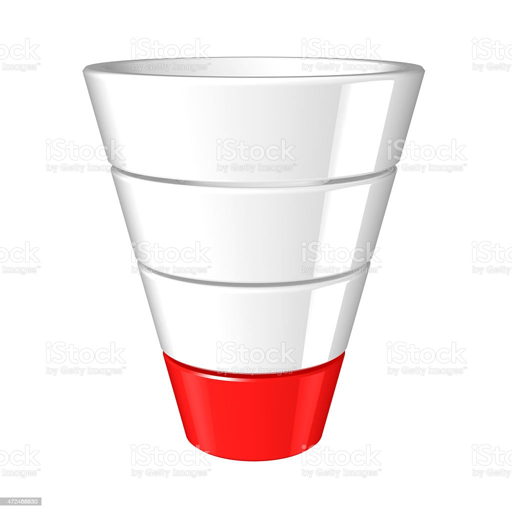 Four tiered sales funnel with lowest level highlighted red stock photo