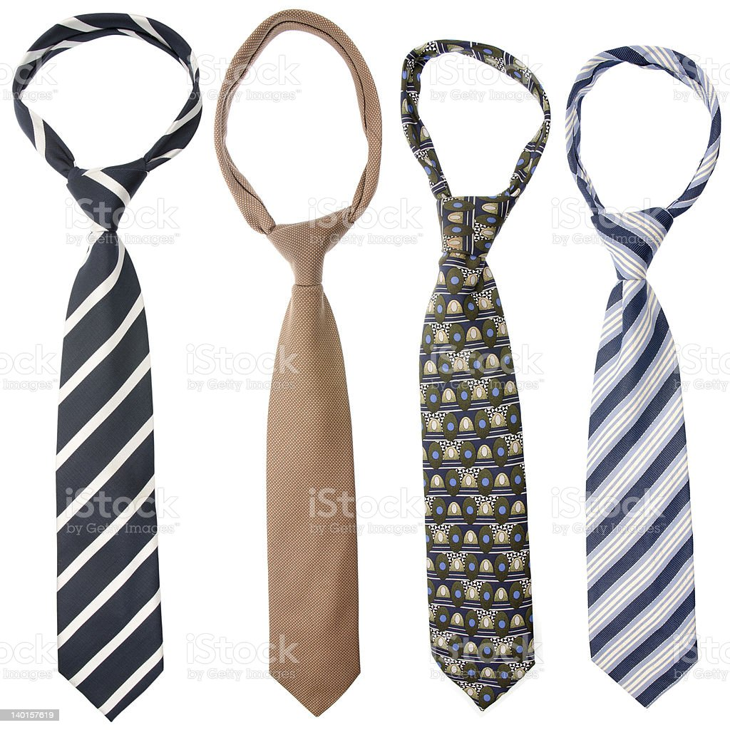 Four ties in various designs and shades stock photo