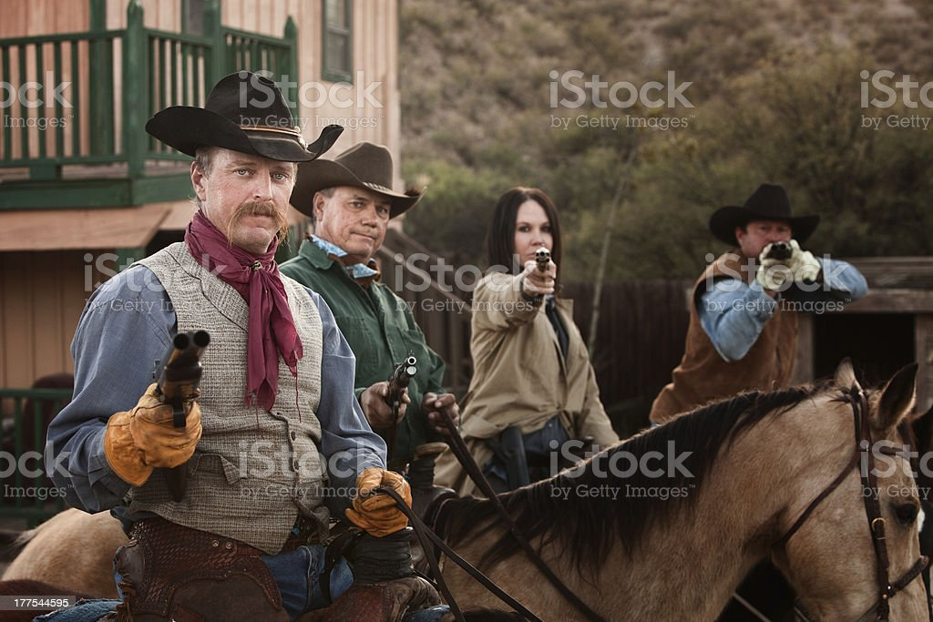 Four Tough Western Robbers stock photo