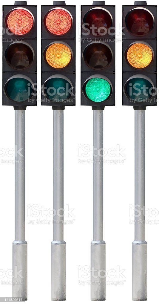 Four traffic lights with different signals royalty-free stock photo