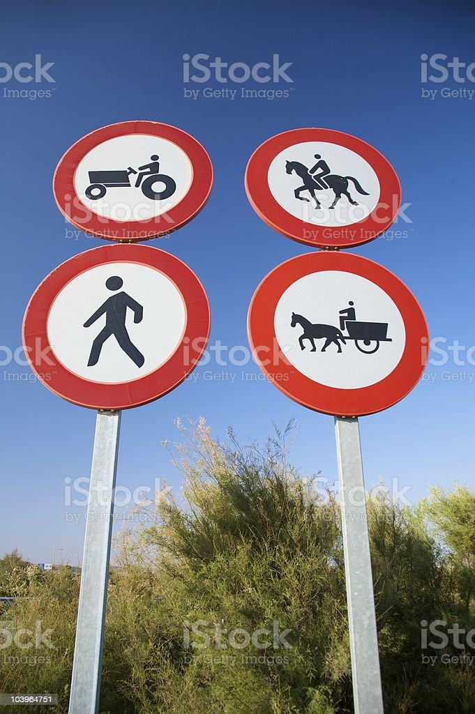 four traffic signs stock photo