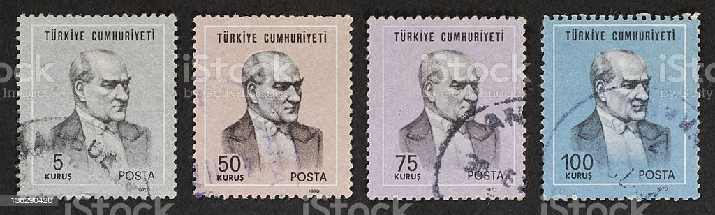 four Turkish postage stamps stock photo