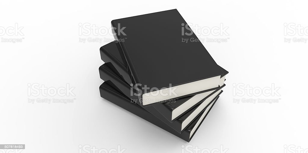 Four twisted black cover books on plain background stock photo
