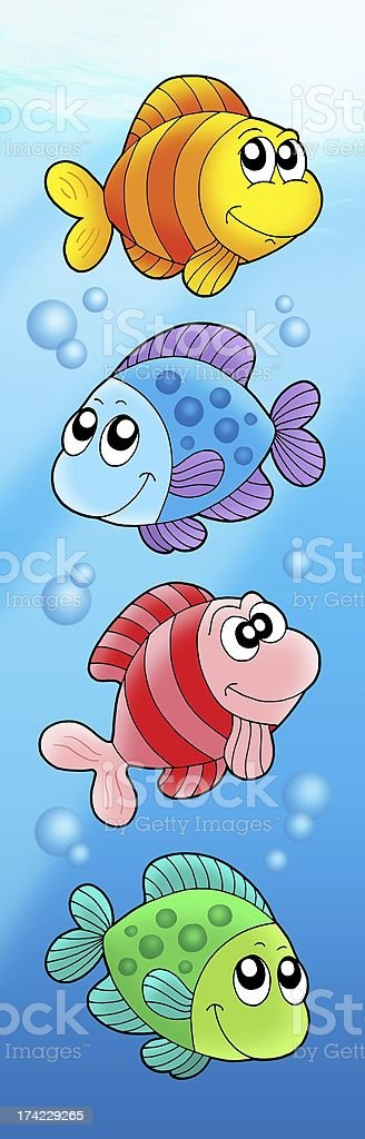 Four various cute fishes royalty-free stock photo
