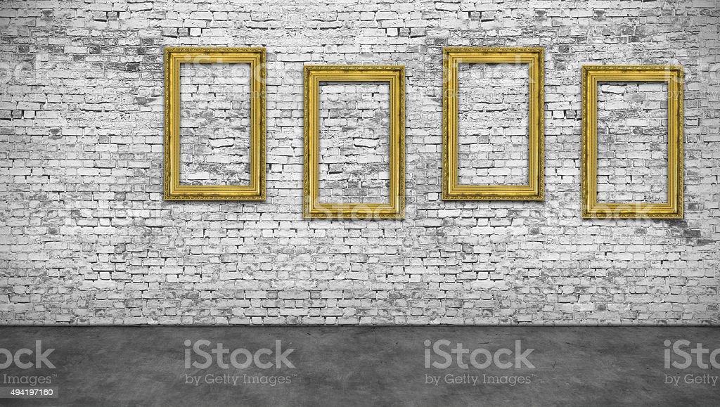 Four vertical golden frames stock photo