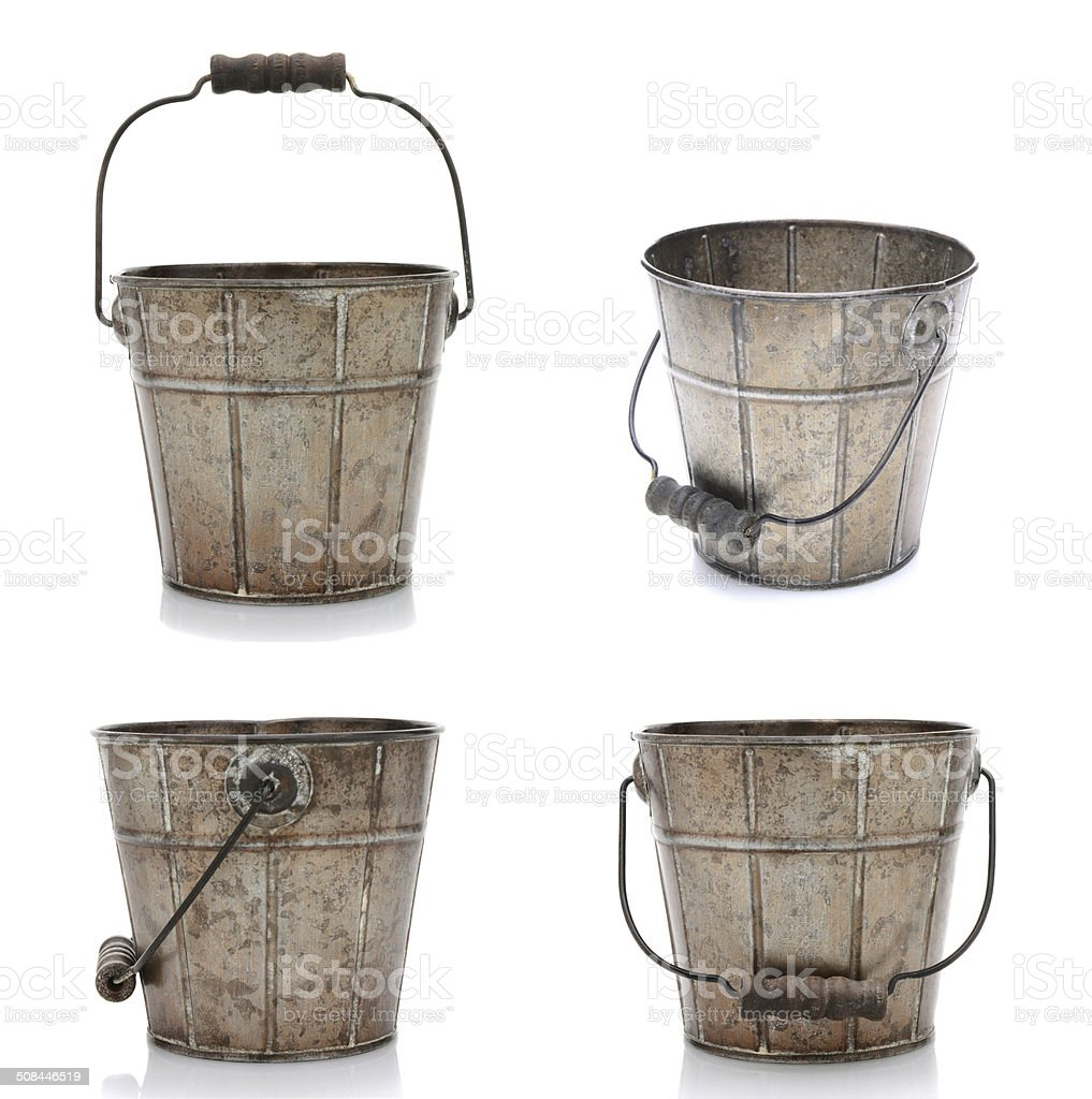 Four Views of an Old Bucket stock photo
