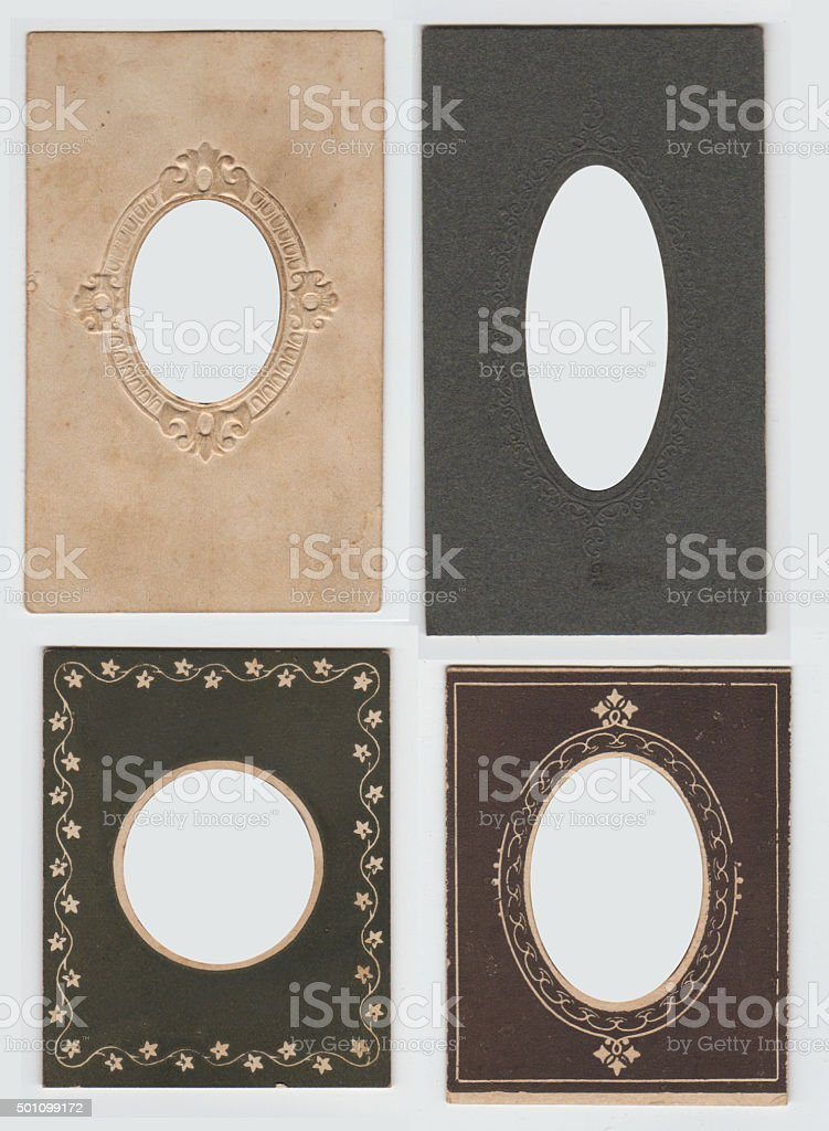 Four Vintage Photo Frames Oval and Round stock photo
